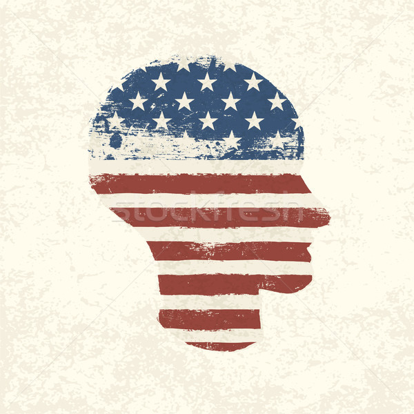 Grunge american flag themed head symbol. Vector, EPS10 Stock photo © pashabo
