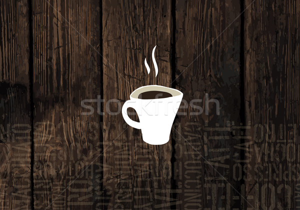 Coffee Cup On Wooden Planks Texture. Coffeeshop Business Card Te Stock photo © pashabo