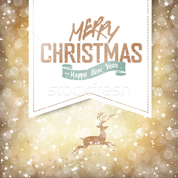 Joyeux Noël lumières cerfs heureux Photo stock © pashabo