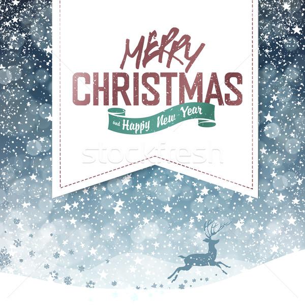 Vrolijk christmas vintage herten silhouet vallen Stockfoto © pashabo