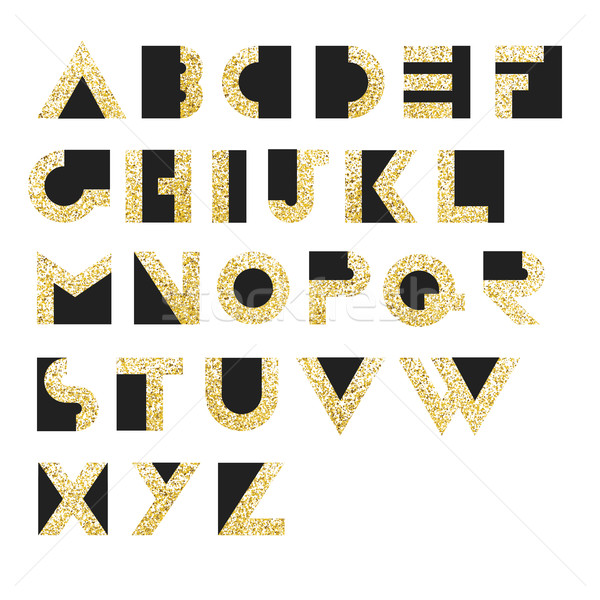 Gold Geometric Retro Alphabet.  Art deco style. Type, font, vint Stock photo © pashabo