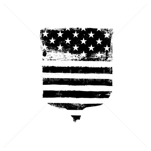 Verteidigung Symbol Schirm Symbol amerikanische Flagge Stock foto © pashabo