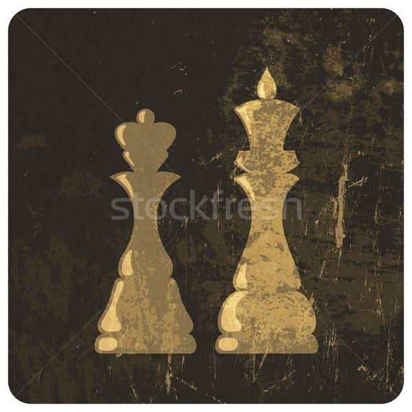Гранж иллюстрация царя королева шахматам вектора Сток-фото © pashabo