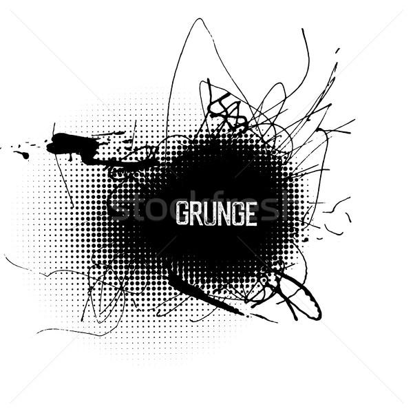 Halftone circle shapes with grunge splatter ink. Abstract grunge Stock photo © pashabo