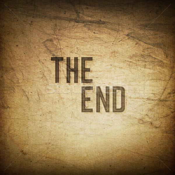 Old cinema phrase (The End...), grunge background Stock photo © pashabo