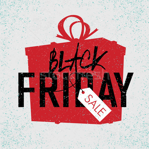 Black Friday sales Advertising Poster with Gift Box Silhouette. Stock photo © pashabo
