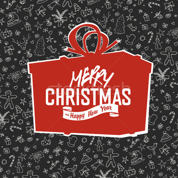Merry Christmas Lettering on Red Gift Box Silhouette. On hand dr Stock photo © pashabo