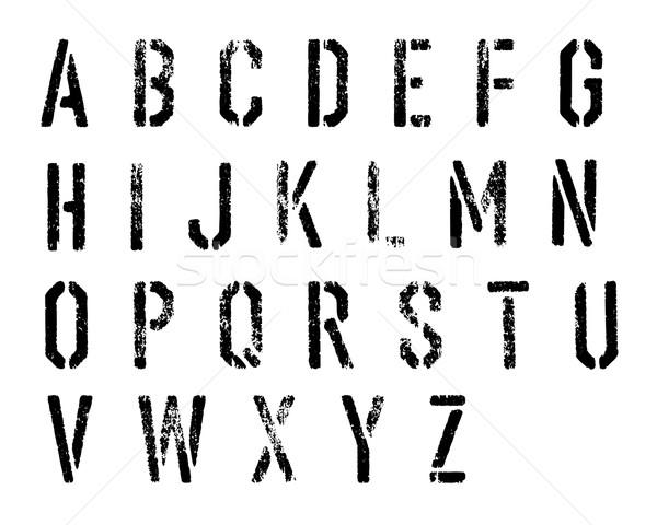 Grunge stencil alfabet vector ingesteld muur Stockfoto © pashabo