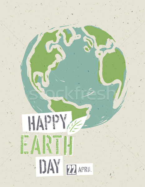 Happy Earth Day Poster. Earth on the recycled paper texture. 22  Stock photo © pashabo