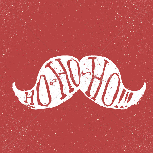 Santa vintage moustache. On textured grunge red background. Ho-h Stock photo © pashabo