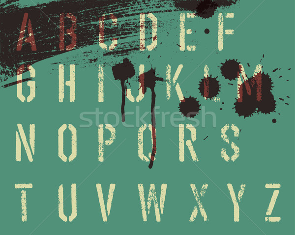 Grunge stencil alphabet with drops and streaks. Vector, EPS10 Stock photo © pashabo