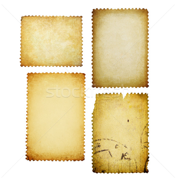 Vintage post stamps with different shapes isolated set. Stock photo © pashabo