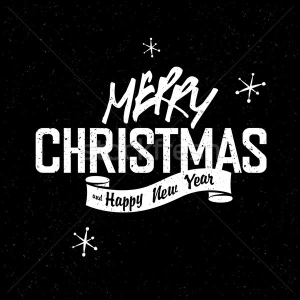 Merry Christmas Lettering. White letters on black textured backg ...