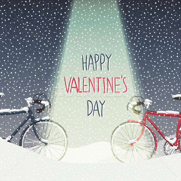 Valentines Card. Snow Covered Bicycles, Calm Winter Scene Stock photo © pashabo