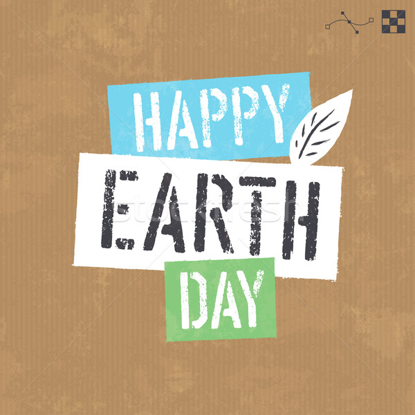 Stock photo: Earth day lettering on cardboard vector texture