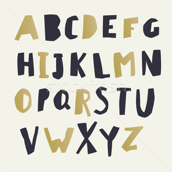 Paper Cut Alphabet. Black and gold letters. Easy edited color of Stock photo © pashabo