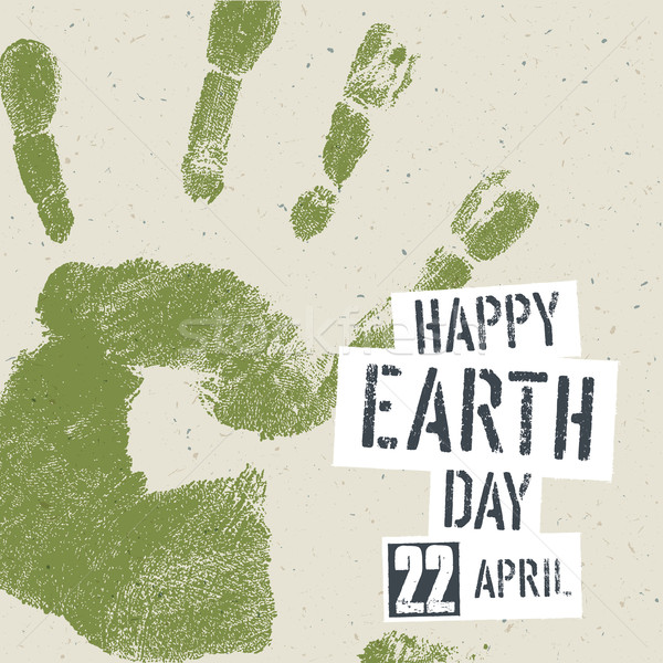Go Green Concept Poster. Handprint on recycled paper texture, ve Stock photo © pashabo