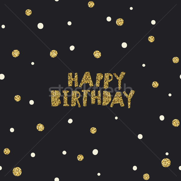 Feliz cumpleaños blanco negro dorado caótico plantilla envases Foto stock © pashabo