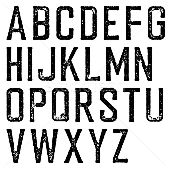 Vintage retro typeface. Stamped alphabet, scratched. Isolated on Stock photo © pashabo
