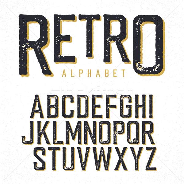 Retro typeface. Stamped alphabet, shadowed. Isolated on white Stock photo © pashabo