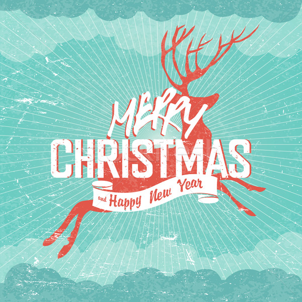 Merry Christmas Vintage vector Illustration. Deer silhouette and Stock photo © pashabo