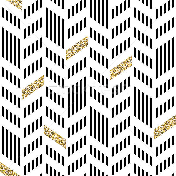 Seamless Chevron Pattern. With Glittering Gold and thin lines Stock photo © pashabo
