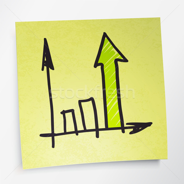 Successful business graph on yellow sticky paper. Vector illustr Stock photo © pashabo