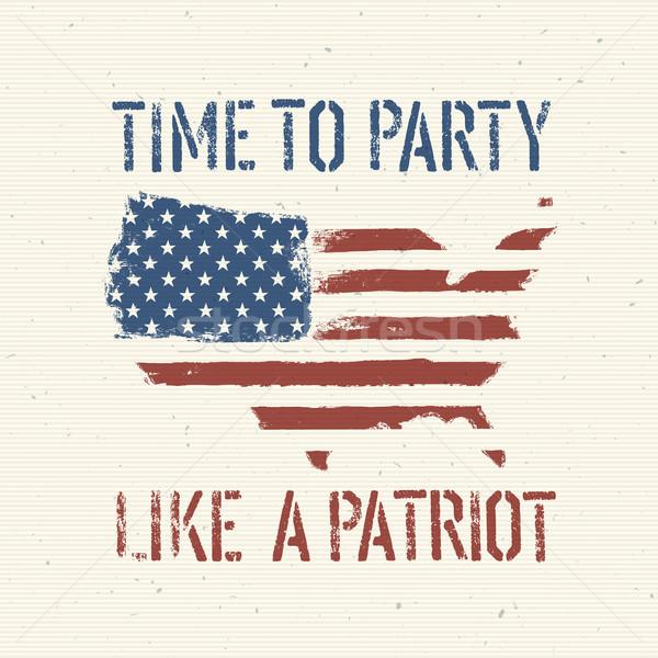 Amerikai hazafias poszter vektor eps10 textúra Stock fotó © pashabo