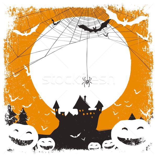 Halloween örnek kale örümcek ağı uzay metin Stok fotoğraf © pashabo