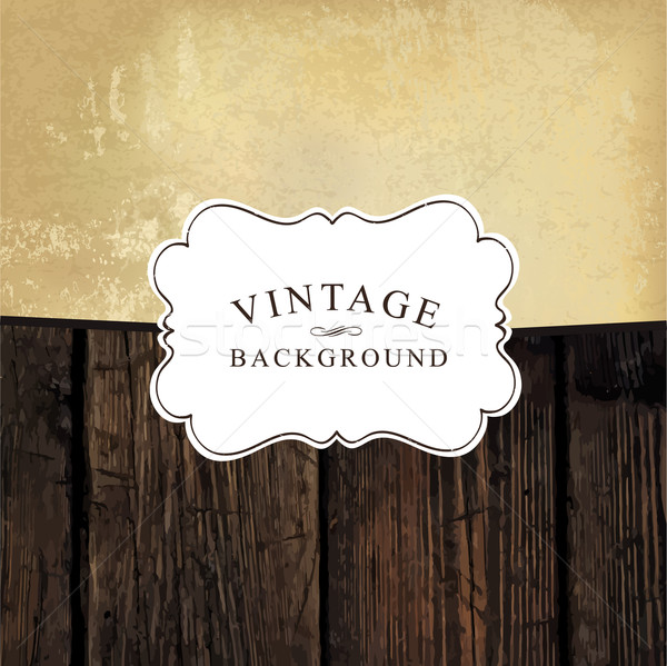 Vintage styled design template. Aged wooden and old paper textur Stock photo © pashabo
