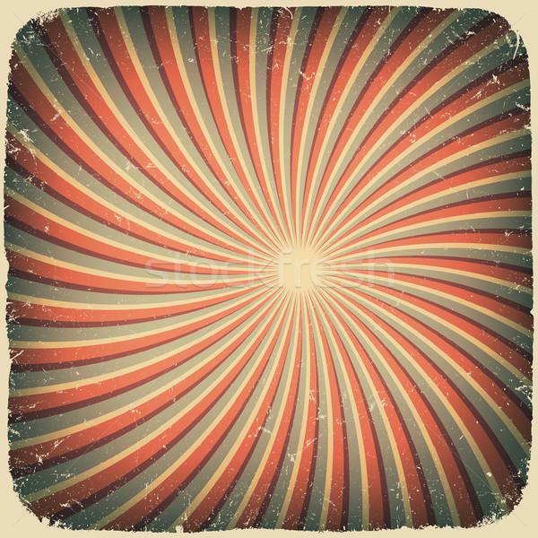 Stock photo: Grunge swirl rays retro background. Vector illustration, EPS10