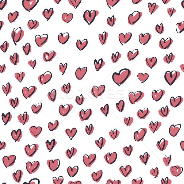 Seamless Hand Drawn Pink Hearts Pattern Stock photo © pashabo