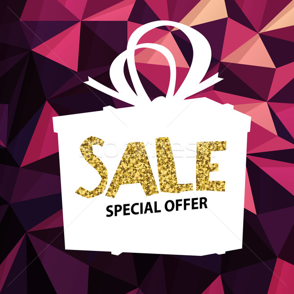 Sale banner on Low Poly Bright Pink Background. Sale template. B Stock photo © pashabo