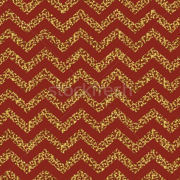 Christmas Seamless chevron pattern. Red and gold. Glittering gol Stock photo © pashabo