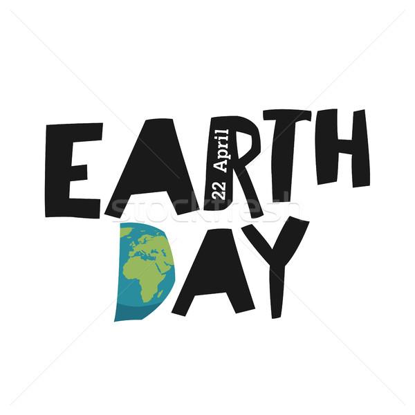 Föld napja ökológia logotípus sablon Föld bolygó Stock fotó © pashabo