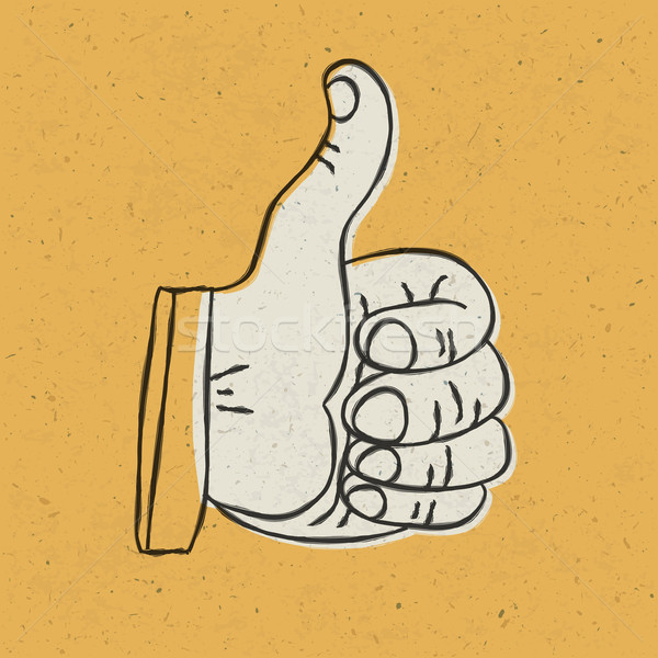 Retro hüvelykujj felfelé szimbólum citromsárga mintázott Stock fotó © pashabo