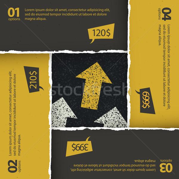 Asphalt texture under torn paper plates. Options composition, ve Stock photo © pashabo