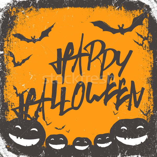 Halloween themed background with hand drawn lettering and bats s Stock photo © pashabo