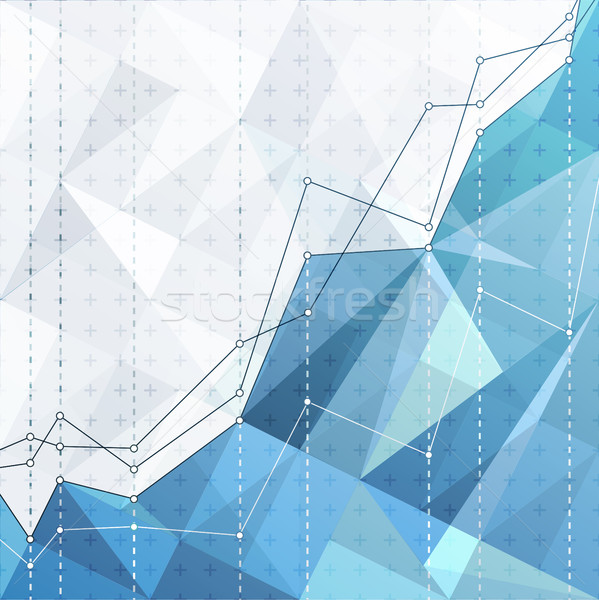 Business abstract diagram, graph and chart on blue triangle background. Investment growth. Financial Stock photo © pashabo