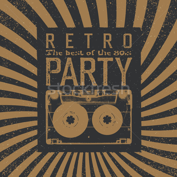 Vintage Party Leaflet Template. Radial rays background, black an Stock photo © pashabo