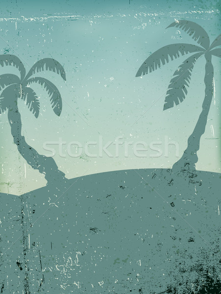 Vintage background with palms silhouettes in the blue shade. Gru Stock photo © pashabo