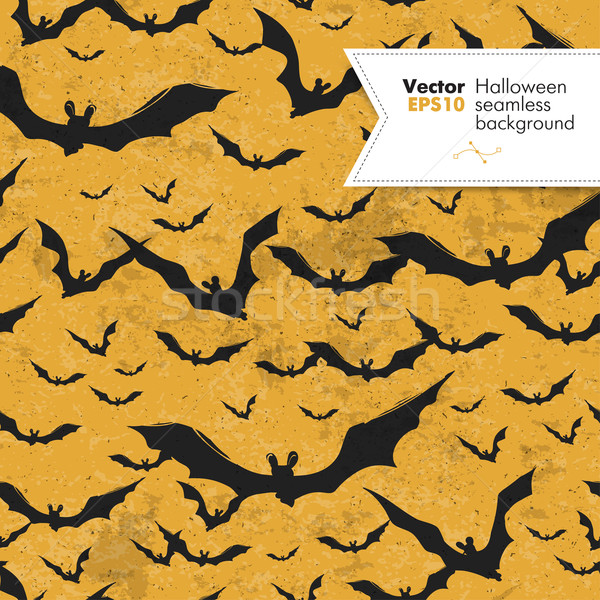 Seamless Halloween vector pattern with bats. Grunge layers can b Stock photo © pashabo