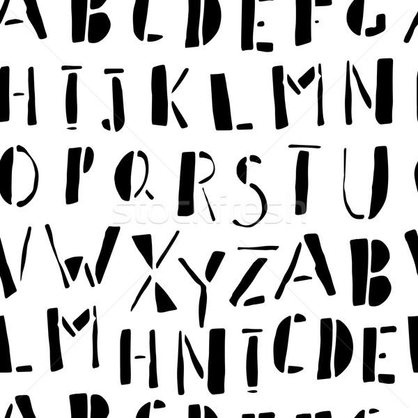 Hand-drawn Doodles Alphabet Seamless Pattern Stock photo © pashabo