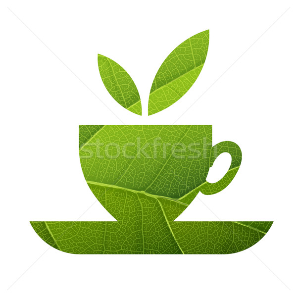 Green Tea. Leaf Veins Texture Shaped. Isolated template Stock photo © pashabo