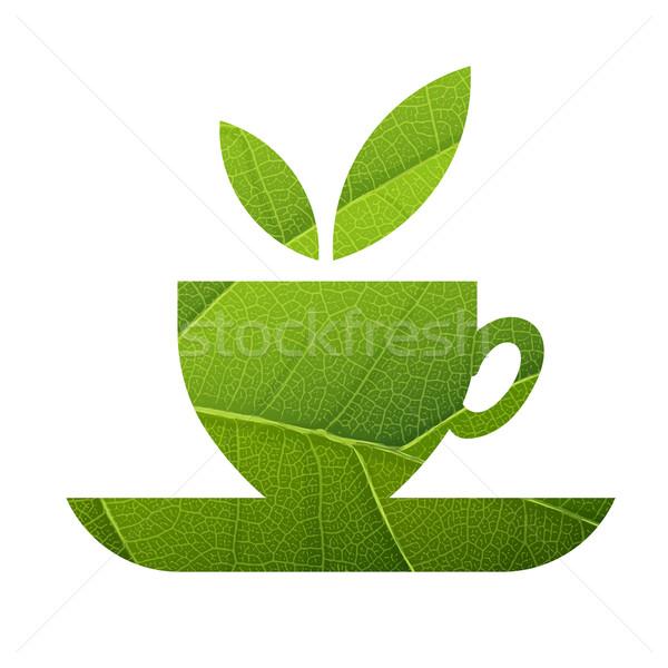 Stockfoto: Groene · thee · blad · aderen · textuur · geïsoleerd