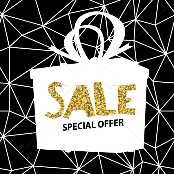 Sale banner on Low Poly BlSale banner on Low Poly Black Backgrou Stock photo © pashabo