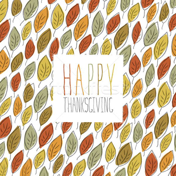 Stock photo: Happy Thanksgiving greeting card design. Logo and fallen leaves.