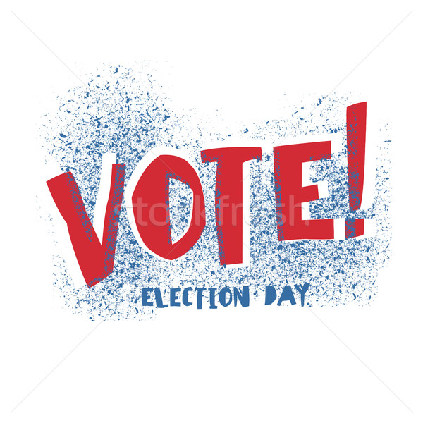 Vote! typography. Election day logo. Isolated on white. Red and  Stock photo © pashabo