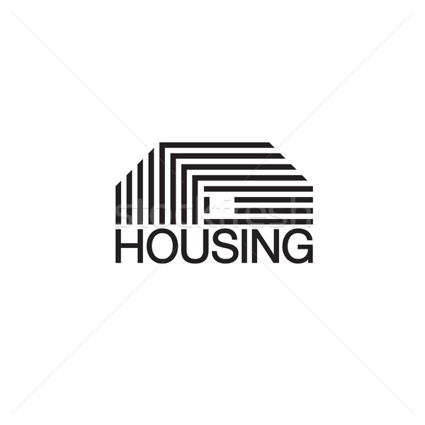 Mono line house logo. Monochromatic vector logotype. Stock photo © pashabo