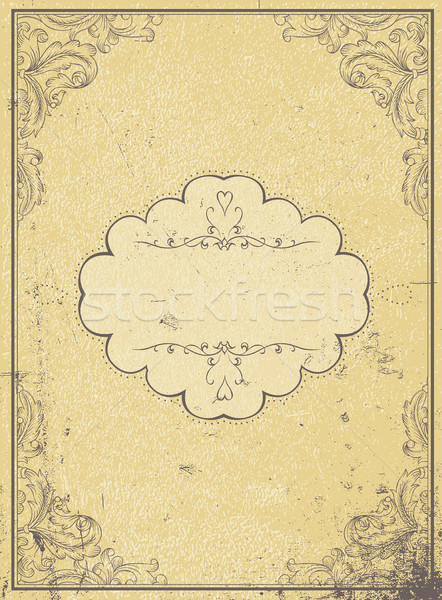 Blank aged paper vintage frame and vintage label, vertical. A4 f Stock photo © pashabo